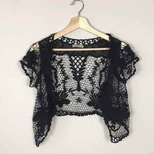 ISSI Cropped Crochet Sweater
